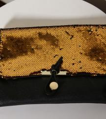 Crno zlatna torba- 100% KOŽA- Made in Italy