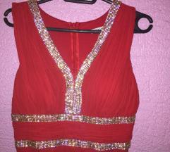 Svečana haljina crvena sa cirkonima