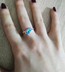 POPUST Prsten vel 7 plavo srce, posrebreno NOVO