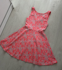 H&M neon roza cvetna haljina nenoseno