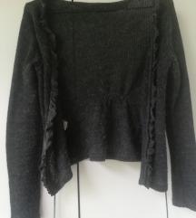 Sivi džemperić kardigan na vezivanje