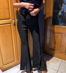Nove ZARA crne zvonarice sa cipkom
