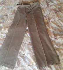 Krem široke pantalone visoki struk