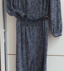 Siva midi haljina vintage SNIZENO