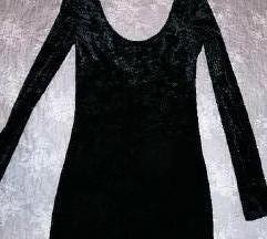 Crna pliš haljina