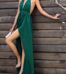 NOVA Fantasticna zelena silk maxi haljina