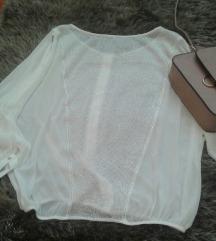 Letnja svilena bela prozirna bluza. NOVO.