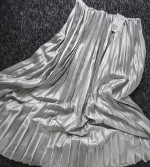 HM mint metalik plise suknja, vel. XS
