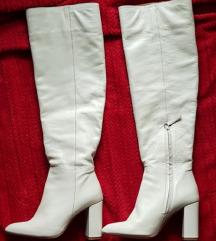 Bele/krem kozne Zara overknee cizme