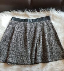 H&M Sivo crna suknja - jednom nosena