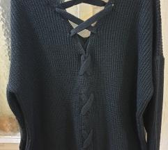 Masivni pleteni dzemper-tunika-haljinica