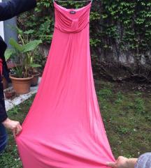 Koralno roze haljina do poda bez bretela