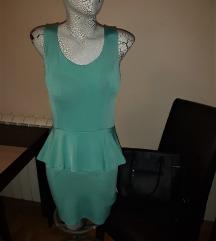 Tirkizna peplum haljina