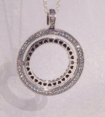 Original Pandora srebrna ogrlica rotirajuca srca