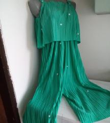 Here+there zeleni plisirani kombinezon S/M