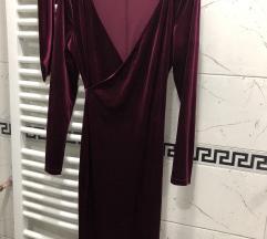 Bordo plišana haljina