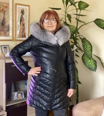 Duža bunda od kože sa krznom lisice