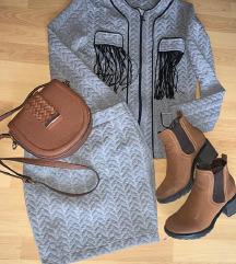 Sivi jesenji komplet suknja i sako-jaknica