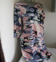 Nova Fashion Go rozikasta maskirna haljina S/M