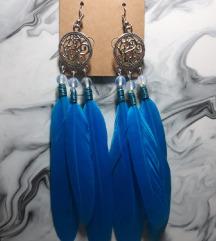 Minđuše plava pera i opalit