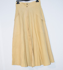Žuta lanena suknja