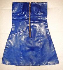 Unikatna kraljevsko plava haljina, eko koža