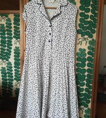 Vintage bela haljina sa tufnicama 46