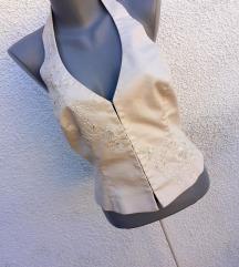 Bela korset majica sa vezom