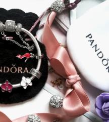 Privezak crvena stikla 👠 + Pandora vrecica