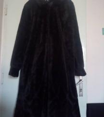 Dugacka, tamnobraon bunda od vestackog krzna XXL