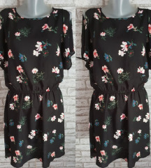 NOVA Crna cvetna haljina/tunika