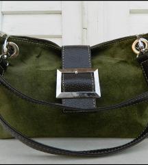 Prelepa zelena torba od prave kože