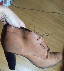 Oker/konjak kozne ankle boots gleznjace 40 SNIZENO