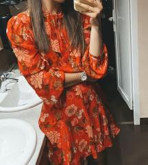 Zara haljina crvena sa cvetovima
