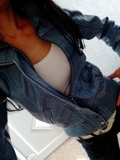 Kožna, kratka uska jakna, plava