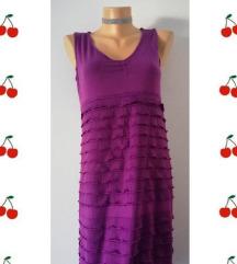 pamučna haljinica sa karnerima ljubičasta