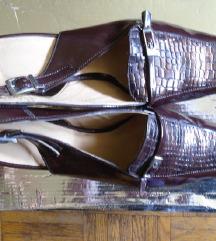 Lakovane braon sandalice, kroko print