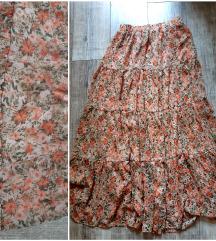 Stradivarius maxi cvetna suknja Novo