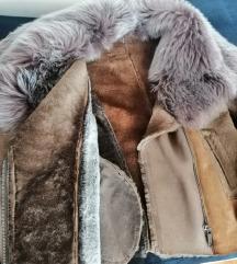 Unikatna jakna,pravo krzno i koza,s,m TOP