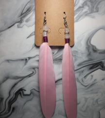 Minđuše rozenkvarc i pero