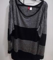 rezz H&M sivo-crni, melirani baggy džemper