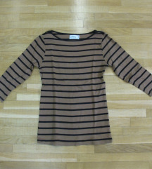 411. Zara majica dugih rukava, svetlo braon, pruge
