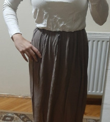 Belo - braon duga haljina otvorenih ledja