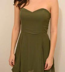 Maslinasto zelena haljina bez rukava