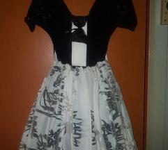Crno bela puf haljina