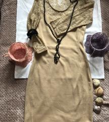 METROFIVE krem haljina sa čipkom S KAO NOVA