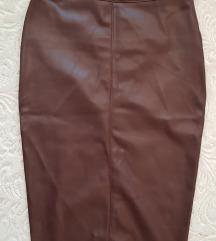 Kozna braon cokoladna pencil suknja