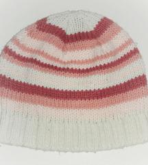 Kapa na prugice roze bela kombinacija