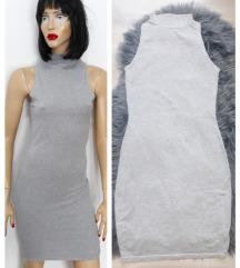 Nova siva uska rol haljina