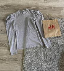 Siva majica sa puff rukavima